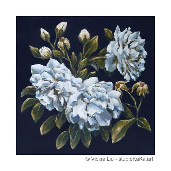 Blue Roses Floral Art Print