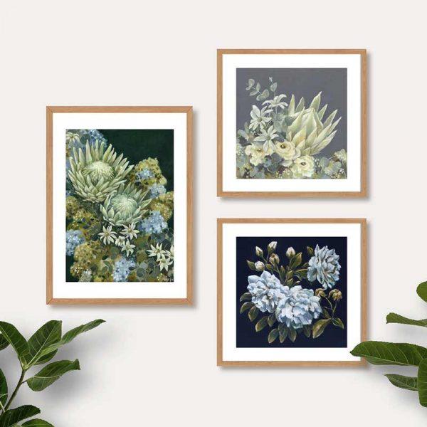 Dark floral art prints insitu