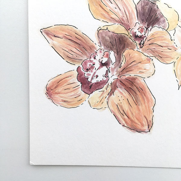 Orange and Green Orchid Watercolour Painting