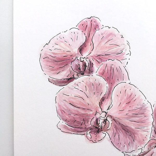 Purple Orchid Watercolour Painting