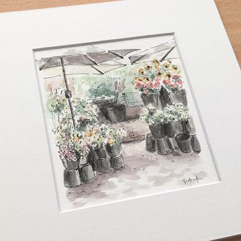 Flower Market Watercolour Painting