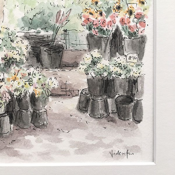 Flower Market Watercolour Painting Detail