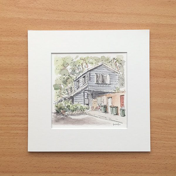 Surry Hills Laneway Cottage Watercolour Artwork