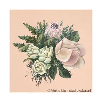 cream roses pink protea print