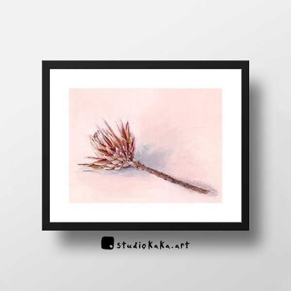 pink protea art print
