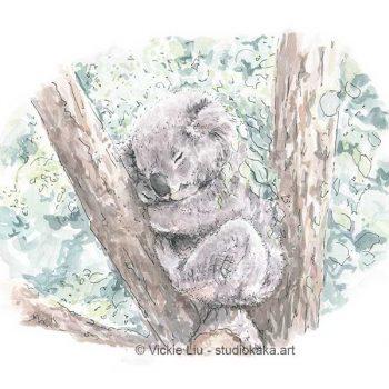 sleeping koala print