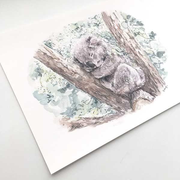sleeping koala animal print