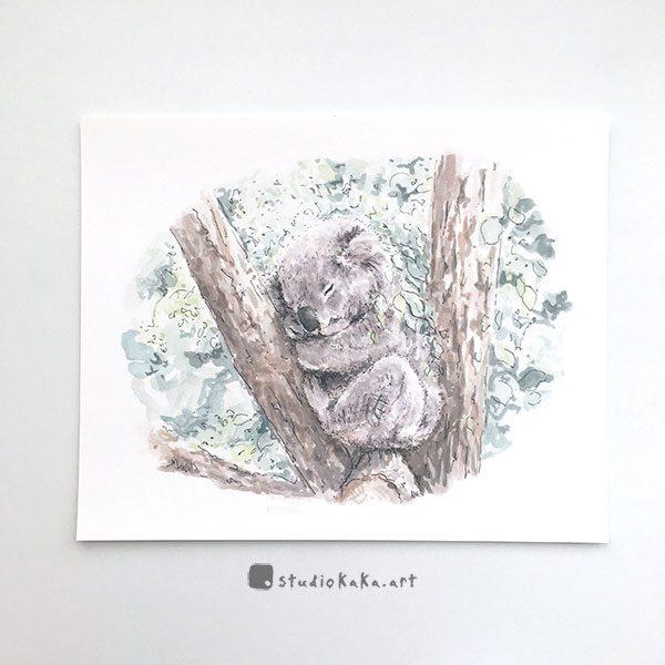 sleeping koala australian print