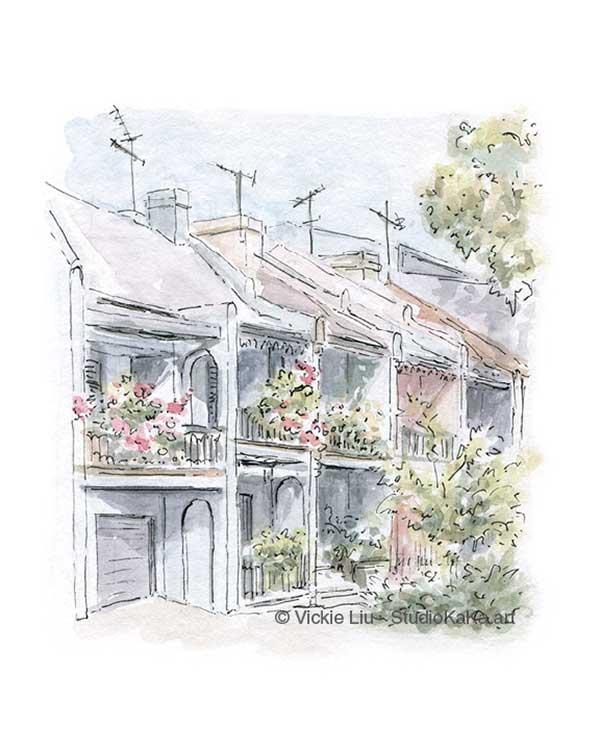 surry hills terrace house art print