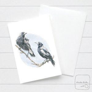 Magpie Watercolour Card