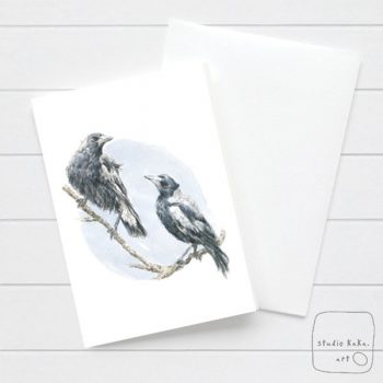 Magpie Watercolour Card