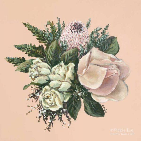 Pink Protea Cream Roses Bouquet Art Print