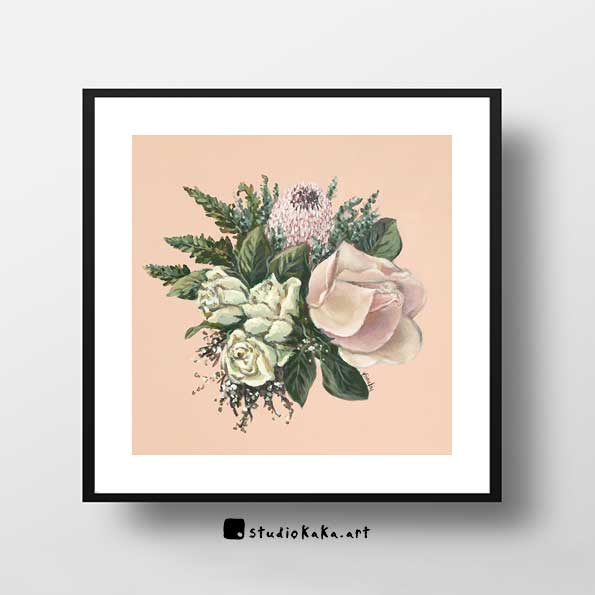 vintage rose and protea print