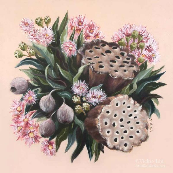 Pink Gumnut lotus and blossom bouquet art prin