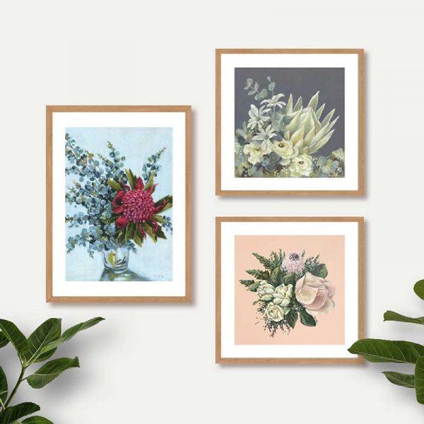 Pastel floral art prints insitu