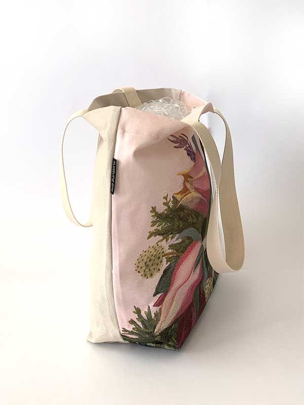 pink flower tote bag side