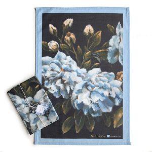 blue vintage rose tea towel