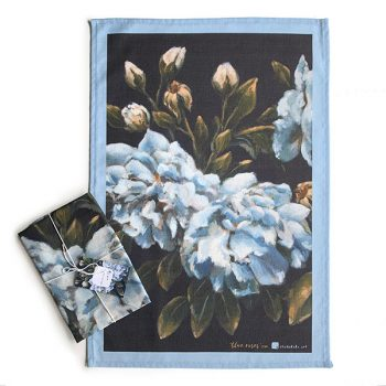 blue vintage rose tea towel