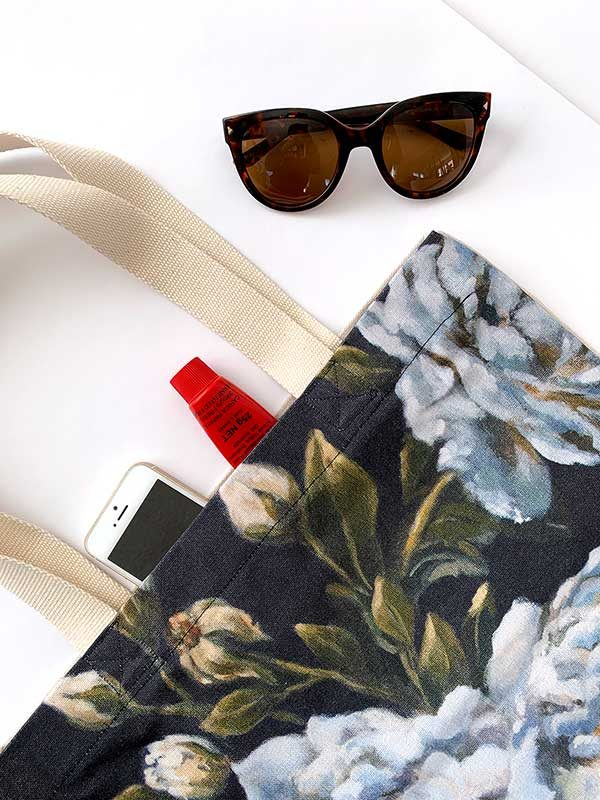 blue floral canvas bag