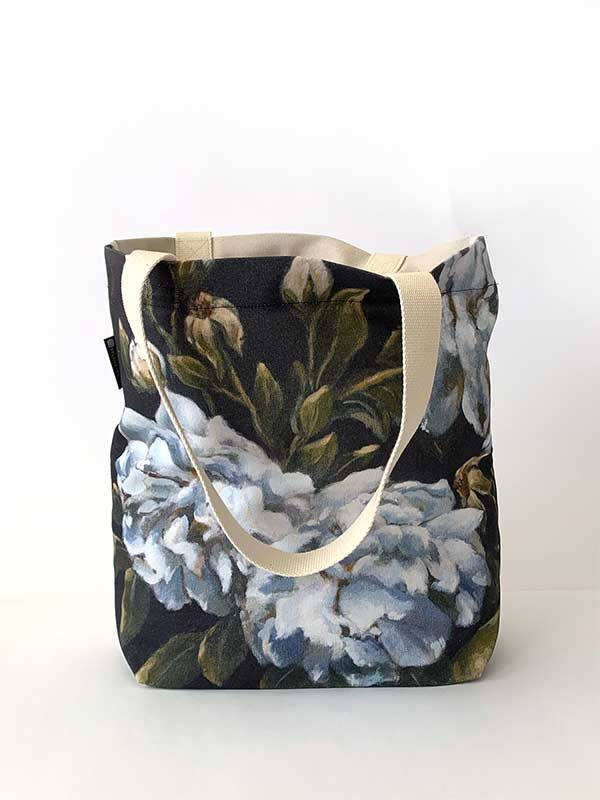 blue rose handmade bag front
