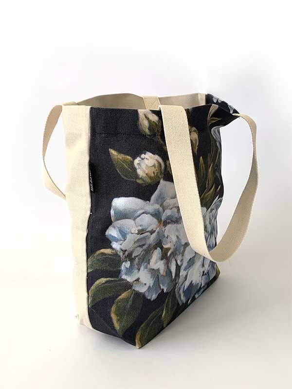 blue rose handmade bag side