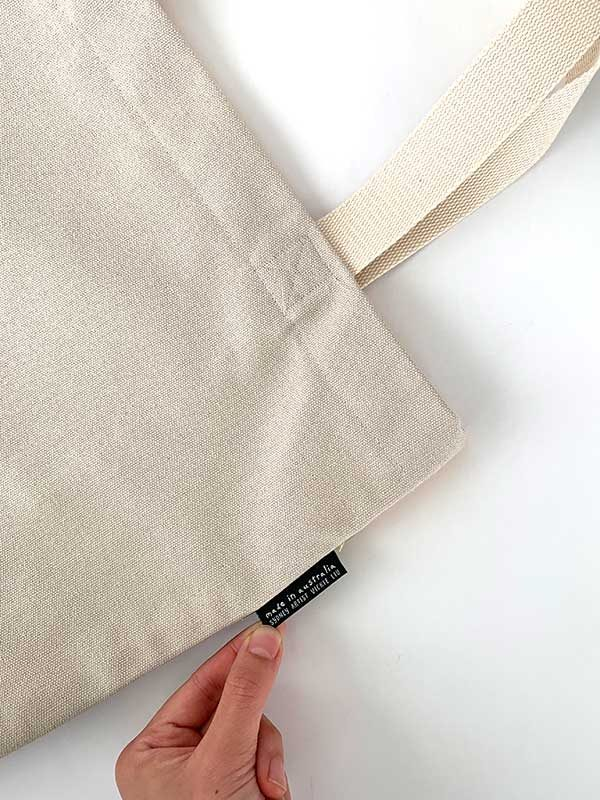 canvas tote branding tag reverse