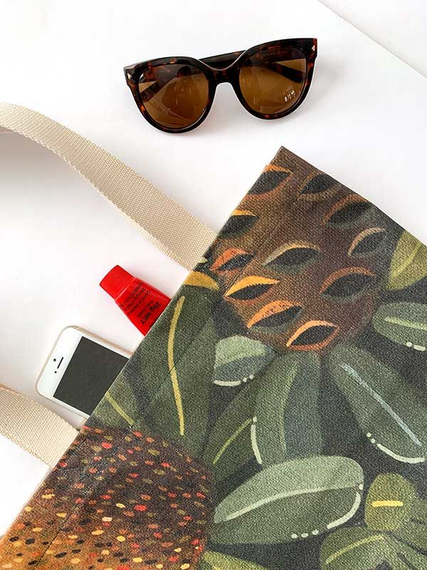 green banksia canvas bag
