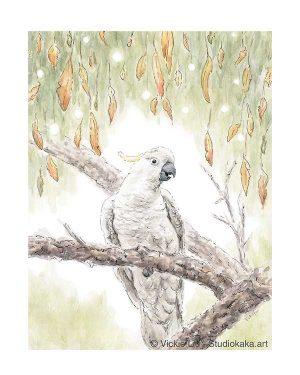 Cockatoo Bird Original Watercolour Painting