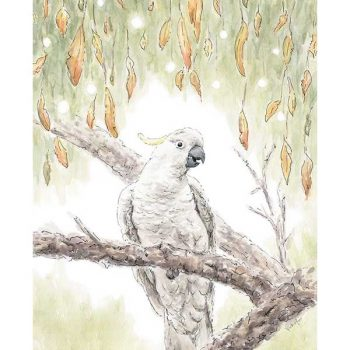 Cockatoo Bird Original Watercolour Painting