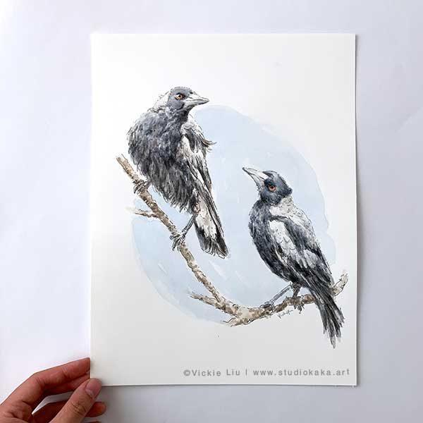 Magpie Original Watercolour Painting