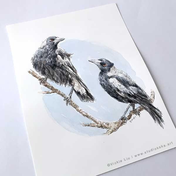 Original Painting Australian Magpie Bird