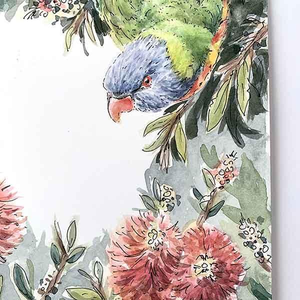 Rainbow Lorikeet Original Watercolour Painting Detail