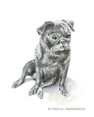 Pug dog original watercolour painting