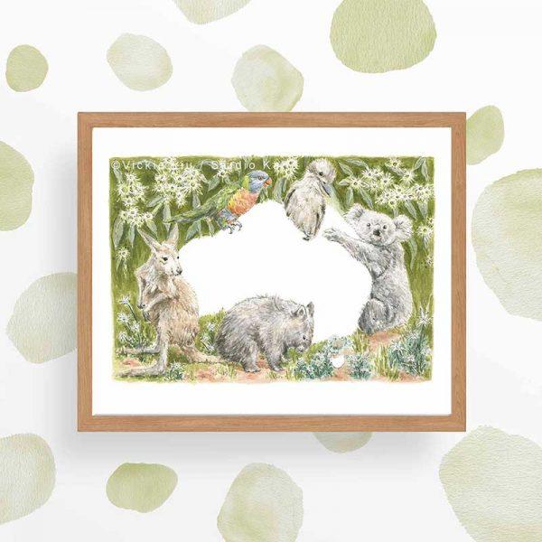 Australian Wildlife Art Print frame look