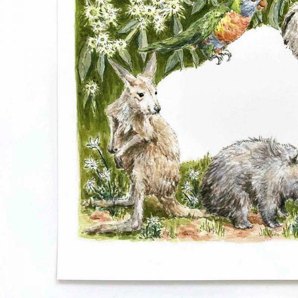 Kangaroo Art print detail