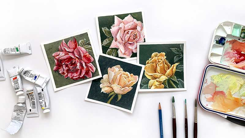 make 100 mini rose paintings