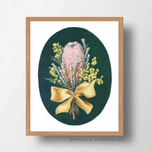 australian native bouquet frame print