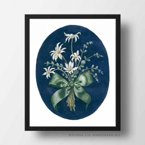 flannel flower bouquet frame print