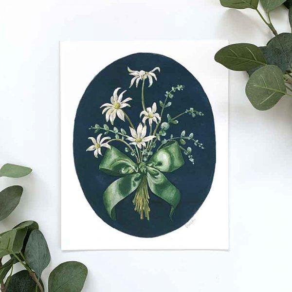 flannel flower art print