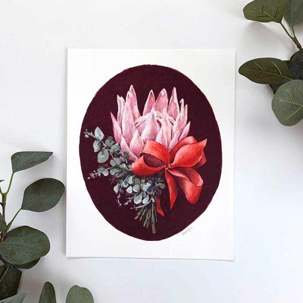 pink protea print