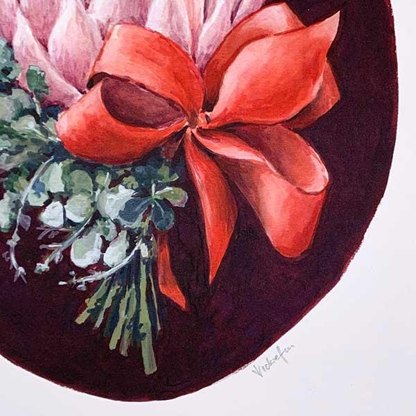 pink protea bouquet detail print