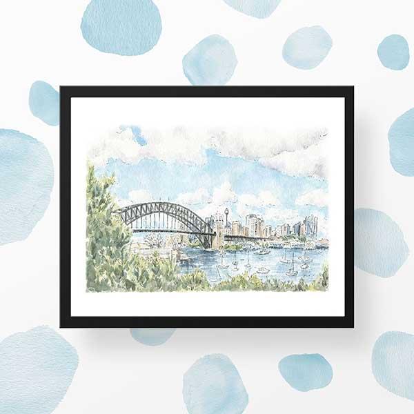 sydney harbour watercolour