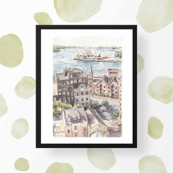 the rocks sydney watercolour print