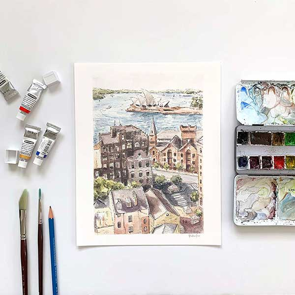 the rocks sydney watercolour art