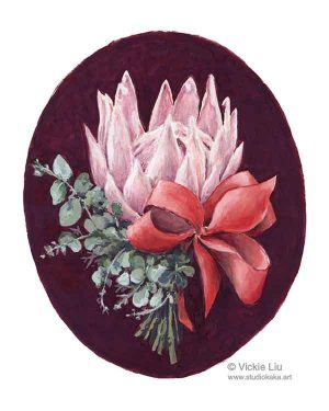 pink protea bouquet print