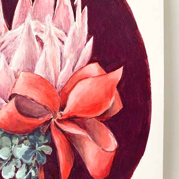 protea and gum flower painting detail