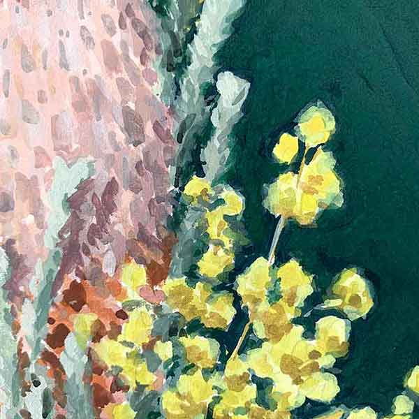 bnksia and wattle australian flower painting detail