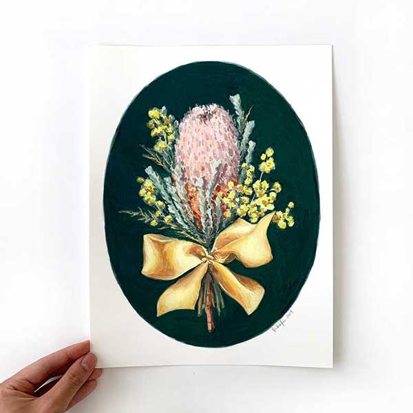 bnksia and wattle flower painting
