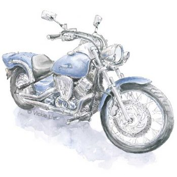 blue motorbike print