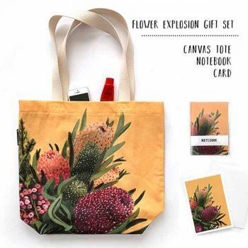 Australian floral tote gift set